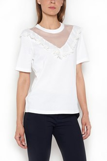 CHLOÉ 1/2 Sleeves t-shirt with lace details  on v neck
