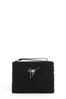 GIUSEPPE ZANOTTI DESIGN Fringed clutch with crystals on the logo