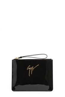 GIUSEPPE ZANOTTI DESIGN Patent leather clutch with logo