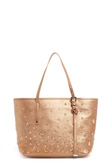 JIMMY CHOO 'Sasha' small metallic leather shopping bag with star studs and crystals
