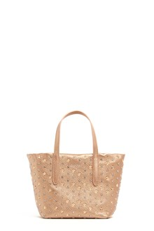 JIMMY CHOO 'sara' metallic leather shopping bag with star studs, crystals and shoulder strap