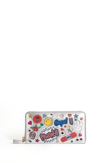 ANYA HINDMARCH Leather around zipped wallet with stickers print all over