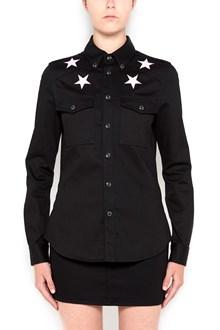 GIVENCHY Denim shirt with pink stars on shoulder