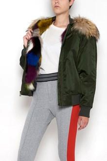MR & MRS ITALY original fit 'New York' bomber nylon,lining multicolor patch fox fur,hood with muramansky fur