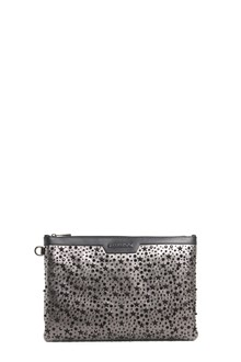 JIMMY CHOO 'Derek' metallic leather clutch with star studs and crystals