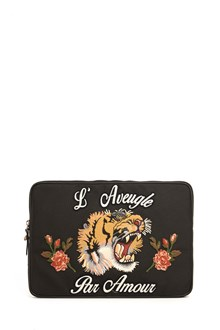 GUCCI zipped  laptop case with tiger patch in front