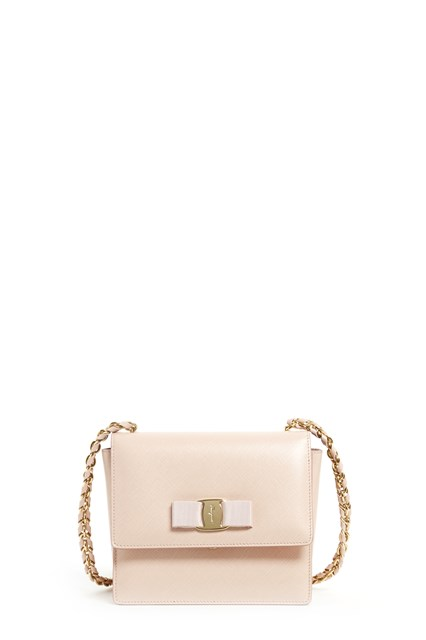 SALVATORE FERRAGAMO 'Ginny' calf leather small clutch with chain strap and frontal bow