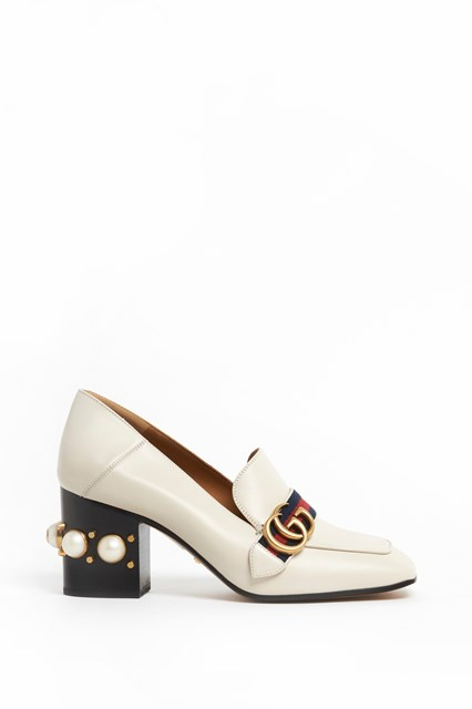 GUCCI 'Payton' Leather mid-heel loafers