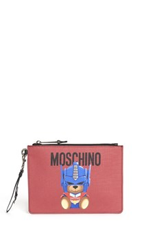 MOSCHINO Zipped clutch with logo and  bear print