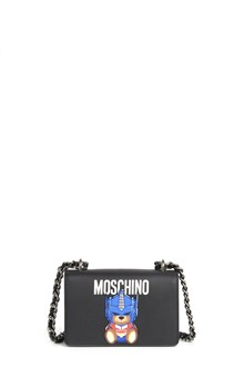 MOSCHINO Little shoulder bag with bear print and chain strap