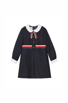 GUCCI satin collar long sleeves dress with buttons and bow