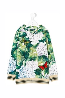 DOLCE & GABBANA Ortensia printed all over hoodie with zip closure