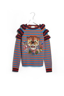 GUCCI striped multicolor sweater with rouches and tiger patch