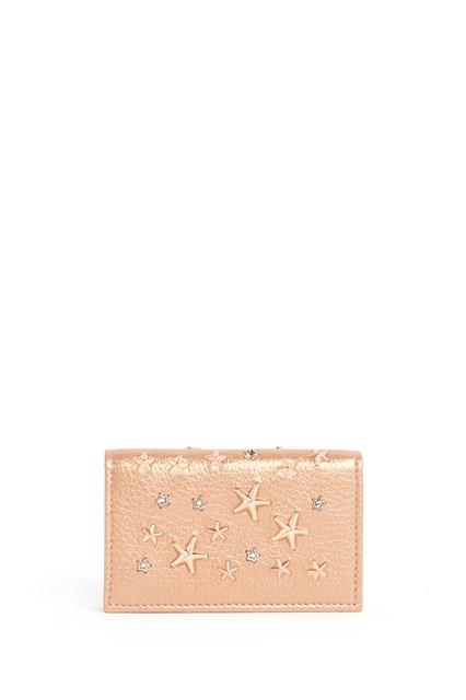 JIMMY CHOO pearlised deerskin with crystal star wallet