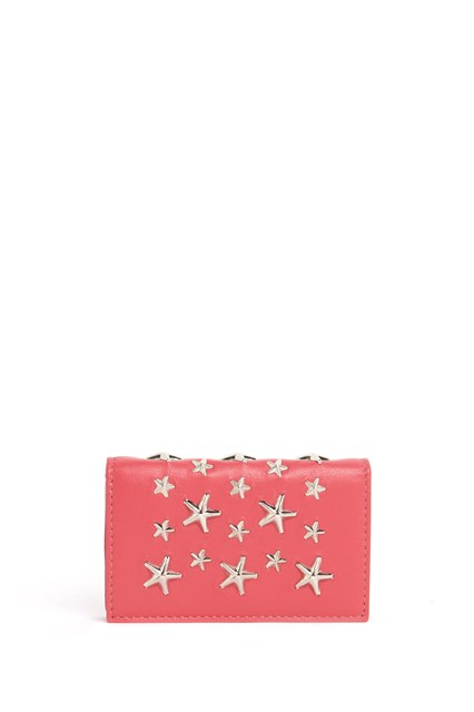 JIMMY CHOO Leather mini wallet with star studs all over