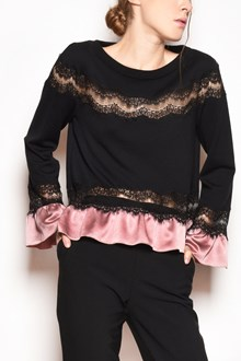 ALBERTA FERRETTI Crew-neck cardigan with lace details and satin ruffles