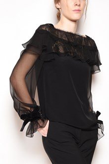 ALBERTA FERRETTI Silk blouse with tulle short sleeves, lace inserts and velvet bow on the cuffs