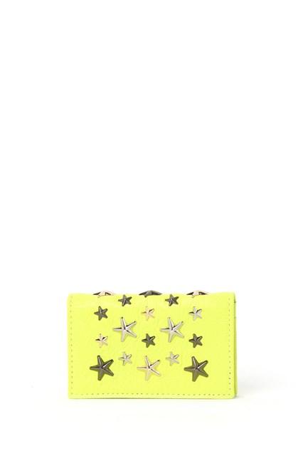 JIMMY CHOO Fluorescent multi metal stars leather wallet