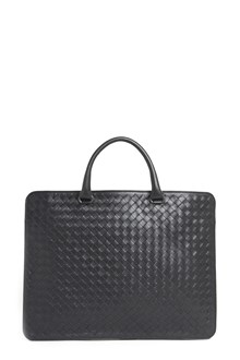 BOTTEGA VENETA Leather woven briefcase with crossbody strap