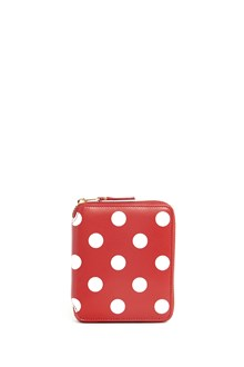 COMME DES GARÇONS Leather polka dot printed wallet with zipper