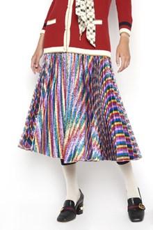 GUCCI Silk fabric pleated multicolor skirt