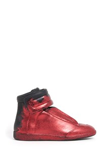 MAISON MARGIELA 'Future' high top leather sneaker with red glitter all over