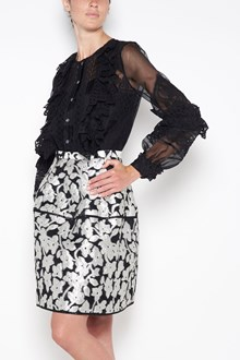OSCAR DE LA RENTA crew-neck shirt with lace sleeves and details