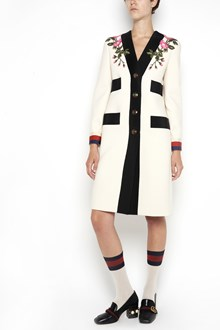 GUCCI Wool coat with embroidered flowers and contrasting colors