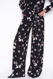 VALENTINO Crepe de chine trousers with flowers print all over