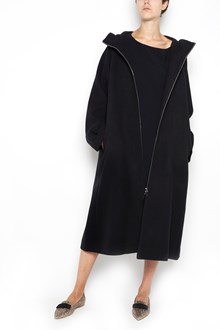 THE ROW 'Haylen' long hooded coat with 3/4 sleeves  and zip closure
