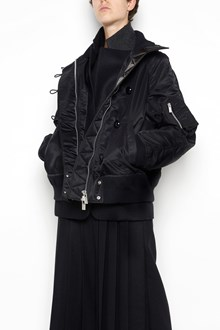 SACAI nylon bomber  with buttons closure and wool cuffs ,hem and inside details