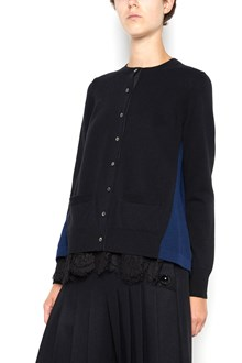 SACAI wool and cotton cardigan with lace details  and buttons closure