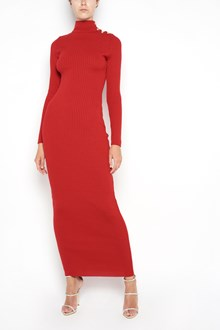 BALMAIN long wool dress with buttons on shoulder and long sleeves
