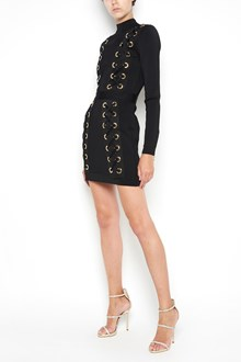 BALMAIN Zipped long dress with holes and laces