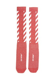 OFF-WHITE 'Diag'  long glittered and striped socks