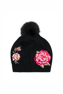 DOLCE & GABBANA wool beanie with  pom pom and rose patch