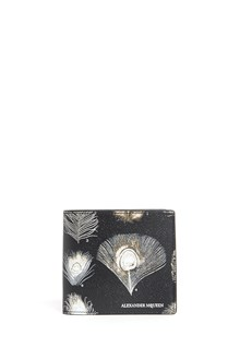ALEXANDER MCQUEEN 'Billfold' feathers all over printed  calf leather wallet