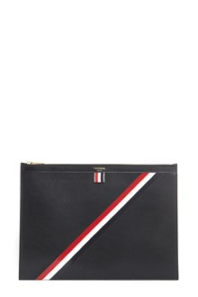 THOM BROWNE calfleather Pc briefcase  in pebble grain with three coloured band