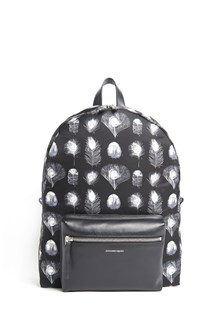 ALEXANDER MCQUEEN Nylon backpack with feathers print all over