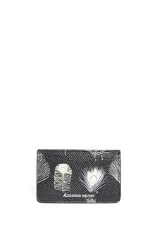 ALEXANDER MCQUEEN Calf leather cardholder with feathers print all over