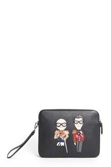 DOLCE & GABBANA 'Mediterraneo' leather clutch with stylists patch