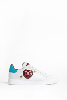 DOLCE & GABBANA Calf leather classic sneaker with 'DG heart' patch