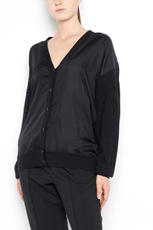 ALEXANDER WANG Silk  twill front cardigan with long sleeves and button closure