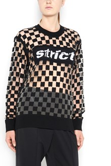 ALEXANDER WANG Sweatshirt with checkboard intarsia and  strict embroidery