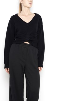 T by ALEXANDER WANG wool pullover with v-neck ,long sleeves and frontal rouche