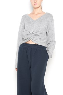 T by ALEXANDER WANG wool sweatshirt with v-neck ,long sleeves and frontal rouche