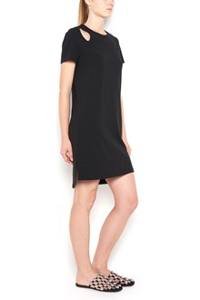 T by ALEXANDER WANG Short sleeves cotton dress with teardrop cutout on shoulder