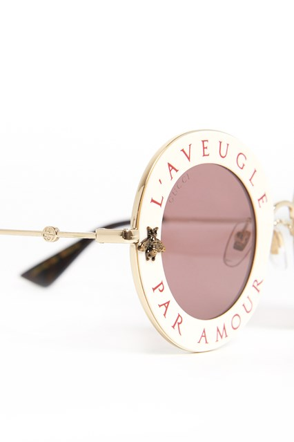 GUCCI Pink and embellished oversized sunglasses