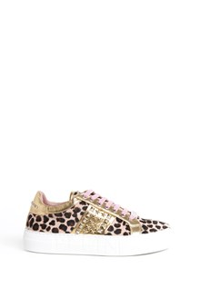 PHILIPP PLEIN Leather leopard print sneaker with studs