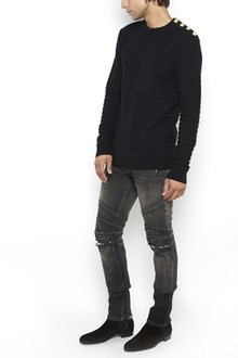 BALMAIN wool crew-neck sweater with buttons on shoulder